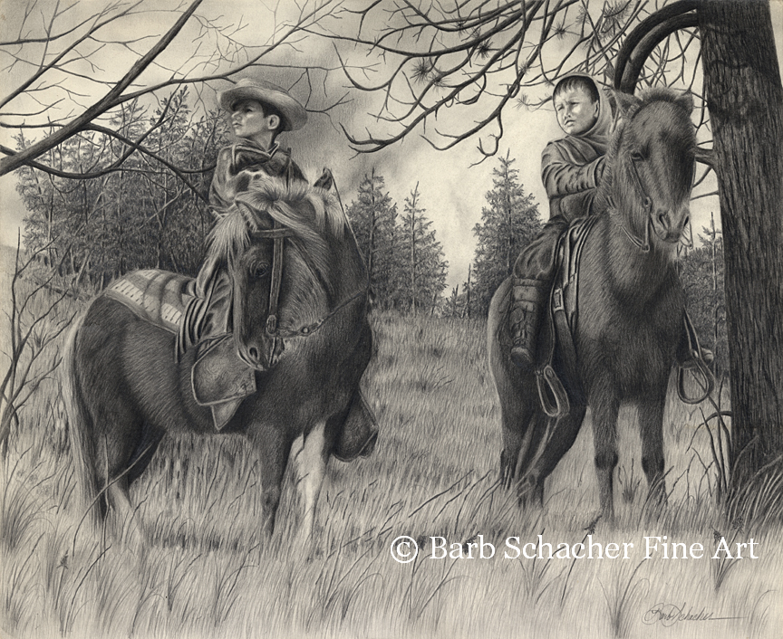 Western Drawing Western Art Pencil Drawing